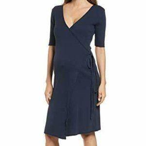 Hatch Naomi Wrap Dress Cotton Navy Blue maternity